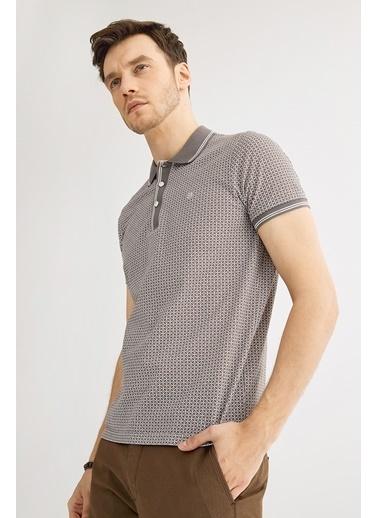 Avva Erkek  Polo Yaka Baskılı Tişört A01Y1051 Gri